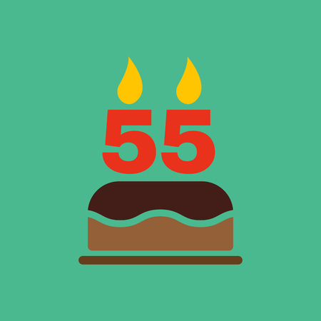 number candles: The birthday cake with candles in the form of number 55 icon. Birthday symbol. Flat Vector illustration