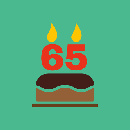 65: The birthday cake with candles in the form of number 65 icon. Birthday symbol. Flat Vector illustration