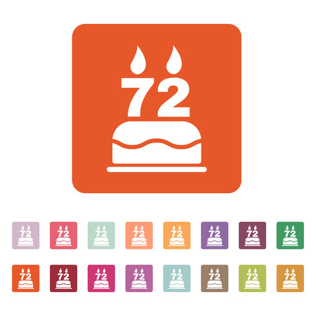 seventy two: The birthday cake with candles in the form of number 72 icon. Birthday symbol. Flat Vector illustration. Button Set