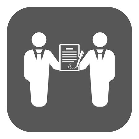 negociacion: El icono del contrato. Acuerdo y firma, pacto, sociedad, s�mbolo de la negociaci�n. Ilustraci�n vectorial Flat. Bot�n Vectores