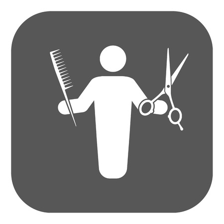 haircutter: The barber avatar icon. Barbershop and hairdresser, haircutter symbol. Flat Vector illustration. Button Illustration