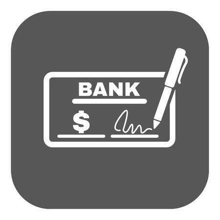 chequera: El icono de comprobación. Talonario de cheques y cheque, paga, pago, pago de símbolo. Ilustración vectorial Flat. Botón