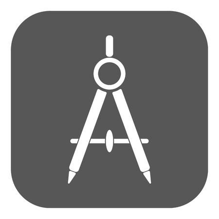 arquitecto: El icono del divisor. Surveyor y la geometría, ingeniero, arquitecto, símbolo de la escuela. Ilustración del vector plana. Botón