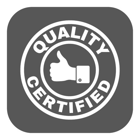 verified stamp: The certified quality and thumbs up icon.  Approval, approbation, certification, accepted symbol. Flat Vector illustration. Button