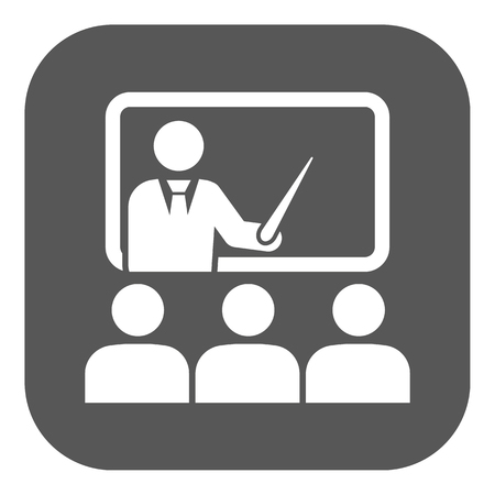 The training icon. Teacher and learner, classroom, presentation, conference, lesson, seminar, education symbol. Flat Vector illustration. Button