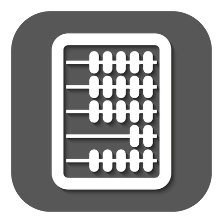 arithmetic: The abacus icon. Finance and calculation, accounting, calculator, arithmetic, mathematics symbol. Flat Vector illustration. Button