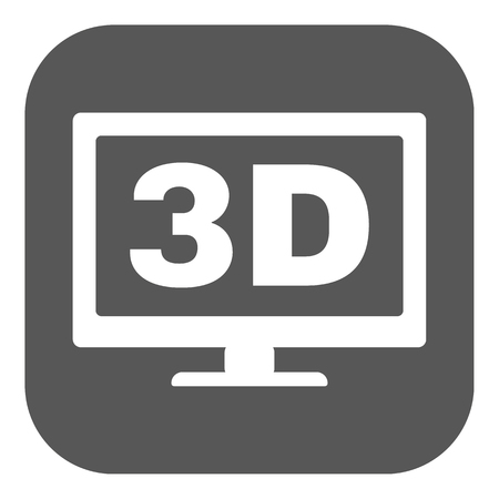 movie screen: The 3d icon. Monitor and display, screen, movie symbol. Flat Vector illustration. Button