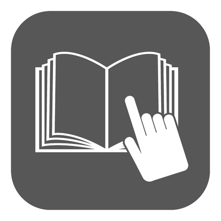 instru��o: The open book icon. Manual and tutorial, instruction symbol. Flat Vector illustration. Button Ilustra��o