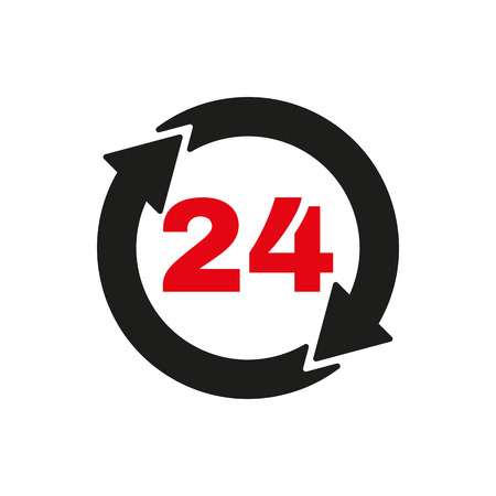 twenty four hour: The 24 hours icon. Twenty-four hours open symbol. Flat Vector illustration