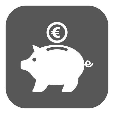 wealth concept: The moneybox and euro icon. Cash and money, wealth, savings symbol. Flat Vector illustration. Button