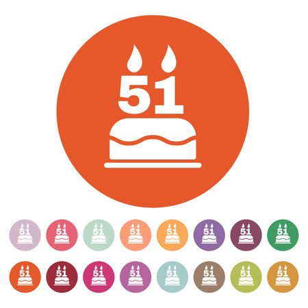 51: The birthday cake with candles in the form of number 51 icon. Birthday symbol. Flat Vector illustration. Button Set
