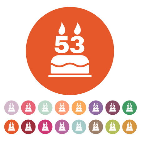 number candles: The birthday cake with candles in the form of number 53 icon. Birthday symbol. Flat Vector illustration. Button Set