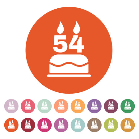 54: The birthday cake with candles in the form of number 54 icon. Birthday symbol. Flat Vector illustration. Button Set