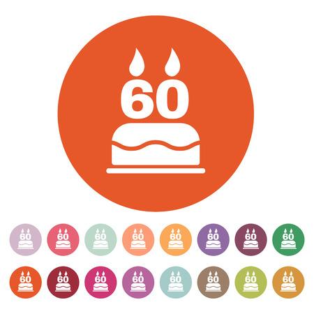 torta de cumpleaños: El pastel de cumpleaños con velas en forma de número 60 icono. Símbolo de cumpleaños. Ilustración vectorial Flat. Botón Set