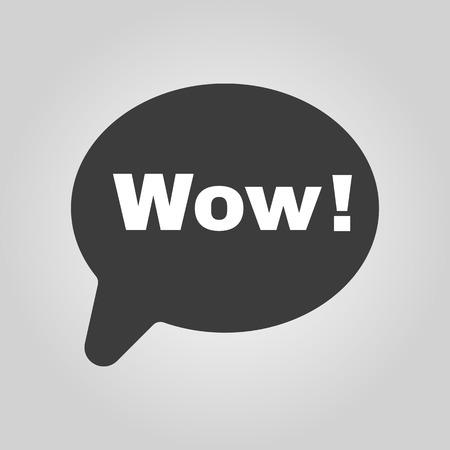 wow: La burbuja del discurso con la palabra wow icono. Internet y el chat, s�mbolo en l�nea. Ilustraci�n vectorial Flat Vectores