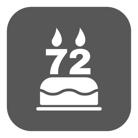 seventy two: The birthday cake with candles in the form of number 72 icon. Birthday symbol. Flat Vector illustration. Button
