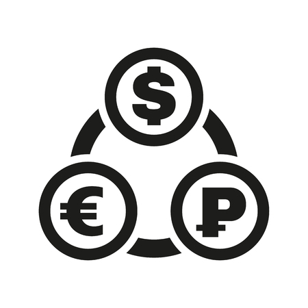 money wealth: The currency exchange dollar, euro, ruble icon. Cash and money, wealth, payment symbol. Flat Vector illustration Illustration