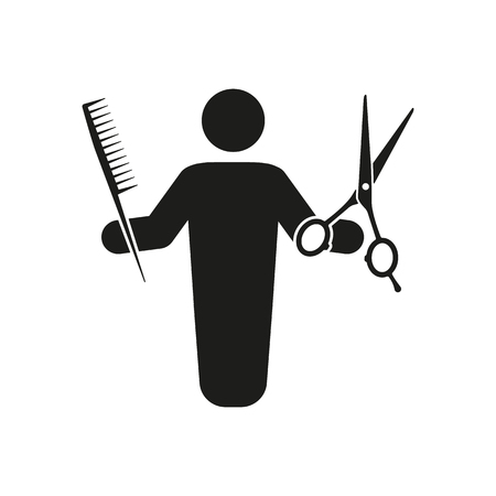 haircutter: The barber avatar icon. Barbershop and hairdresser, haircutter symbol. Flat Vector illustration