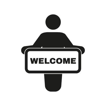 the welcome: El icono welcom. Invitar s�mbolo. Ilustraci�n vectorial Flat