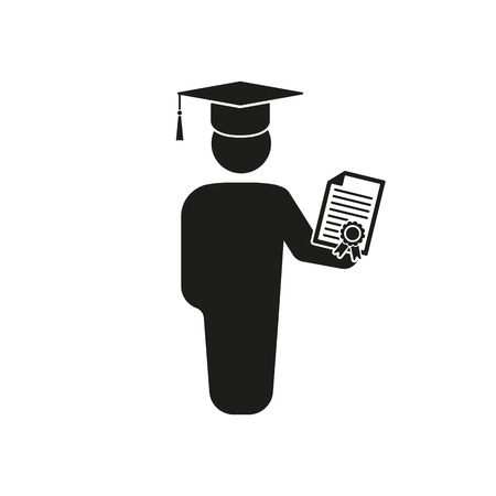 final college: The graduate with diploma icon. School and university, learning, education symbol. Flat Vector illustration