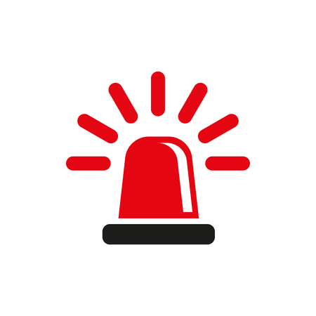 The flasher icon. Police and  ambulance, alarm, beacon symbol. Flat Vector illustration Vettoriali