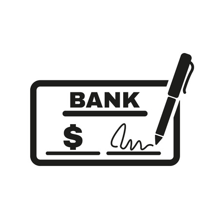 checkbook: The check icon. Checkbook and cheque, pay, payment, paying symbol. Flat Vector illustration Illustration