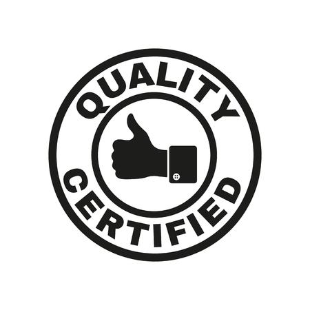 control de calidad: La calidad y los pulgares certificado hasta icono. La aprobación, aprobación, certificación, símbolo aceptado. Ilustración vectorial Flat Vectores