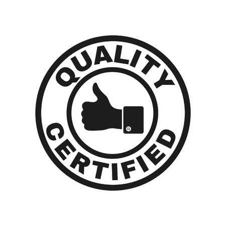 quality seal: The certified quality and thumbs up icon.  Approval, approbation, certification, accepted symbol. Flat Vector illustration