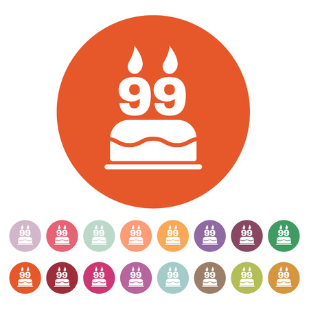 99: The birthday cake with candles in the form of number 99 icon. Birthday symbol. Flat Vector illustration. Button Set Illustration