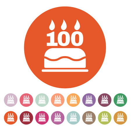 The birthday cake with candles in the form of number 100 icon. Birthday symbol. Flat Vector illustration. Button Set