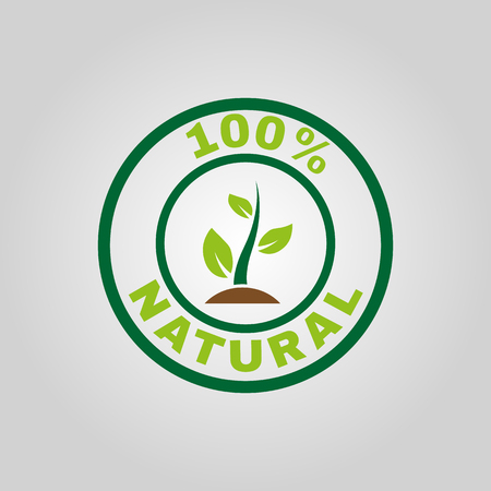The 100 Percent Natural Icon Eco And Bio Ecology Symbol Flat