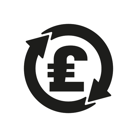 libra esterlina: El icono de la libra esterlina de cambio de divisa. Dinero en efectivo y el dinero, la riqueza, s�mbolo de pago. Ilustraci�n vectorial Flat
