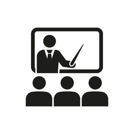The training icon. Teacher and learner, classroom, presentation, conference, lesson, seminar, education symbol. Flat Vector illustration Vettoriali