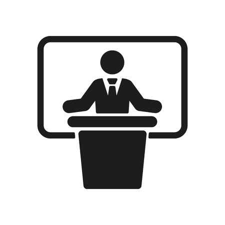 speech icon: The speech icon. Speak and broadcaster, orator, presentation, conference symbol. Flat Vector illustration Illustration