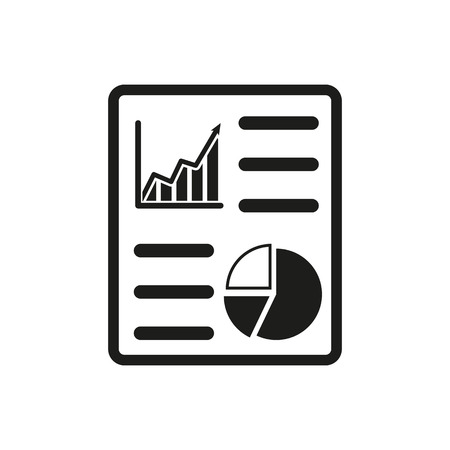 graph report: The business report icon. Audit and analysis, document, plan symbol. Flat Vector illustration