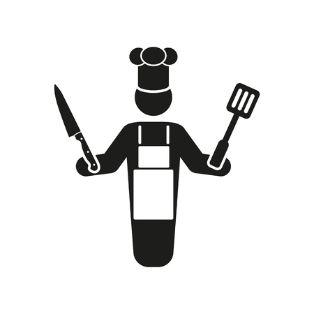 gastronomy: The cook icon. Chef and barbecue, restaurant symbol. Flat Vector illustration