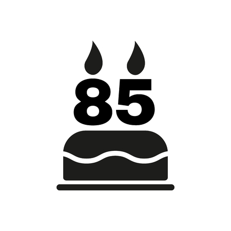 number candles: The birthday cake with candles in the form of number 85 icon. Birthday symbol. Flat Vector illustration Illustration