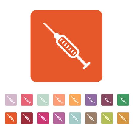 injector: The syringe icon. Injector and hypodermic, preparation, medicine,  vaccine symbol. Flat Vector illustration. Button Set Illustration