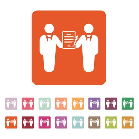 pacto: El icono del contrato. Acuerdo y firma, pacto, sociedad, símbolo de la negociación. Ilustración vectorial Flat. Botón Set Vectores