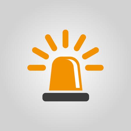 ambulancia: El icono de intermitencia. La policía y la ambulancia, alarma, símbolo de baliza. Ilustración vectorial Flat