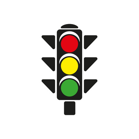 The traffic light icon. Stoplight and  semaphore, crossroads symbol. Flat Vector illustration Ilustração
