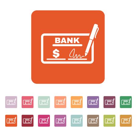 chequera: El icono de comprobaci�n. Talonario de cheques y cheque, paga, pago, pago de s�mbolo. Ilustraci�n vectorial Flat. Bot�n Set