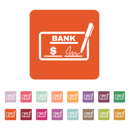 checkbook: The check icon. Checkbook and cheque, pay, payment, paying symbol. Flat Vector illustration. Button Set Illustration