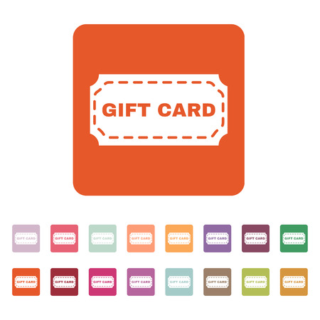 gift card: The gift card icon. Coupon and discount , offer symbol. Flat Vector illustration. Button Set