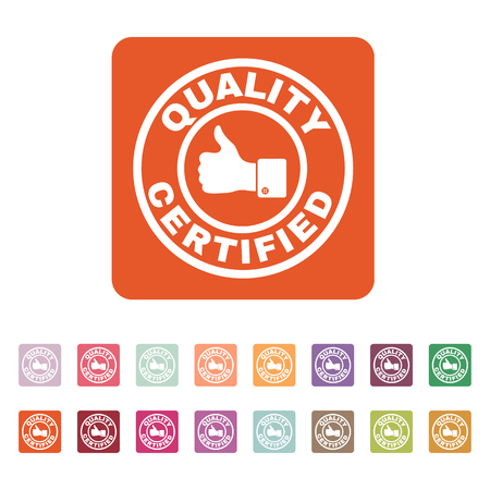 approbation: The certified quality and thumbs up icon.  Approval, approbation, certification, accepted symbol. Flat Vector illustration. Button Set