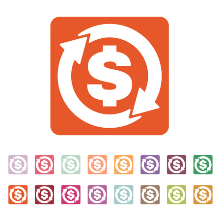 money wealth: The currency exchange dollar icon. Cash and money, wealth, payment symbol. Flat Vector illustration. Button Set