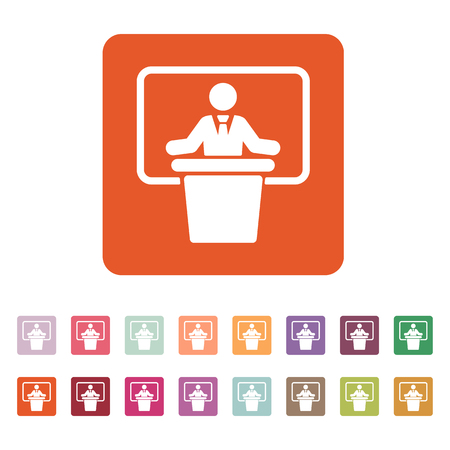narrator: The speech icon. Speak and broadcaster, orator, presentation, conference symbol. Flat Vector illustration. Button Set