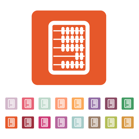 arithmetic: The abacus icon. Finance and calculation, accounting, calculator, arithmetic, mathematics symbol. Flat Vector illustration. Button Set