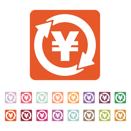 money wealth: The currency exchange yen icon. Cash and money, wealth, payment symbol. Flat Vector illustration. Button Set