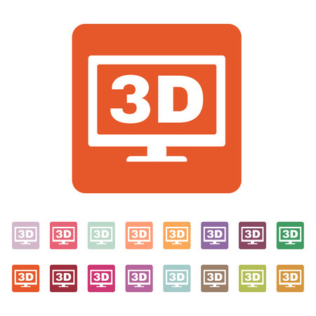 movie screen: The 3d icon. Monitor and display, screen, movie symbol. Flat Vector illustration. Button Set